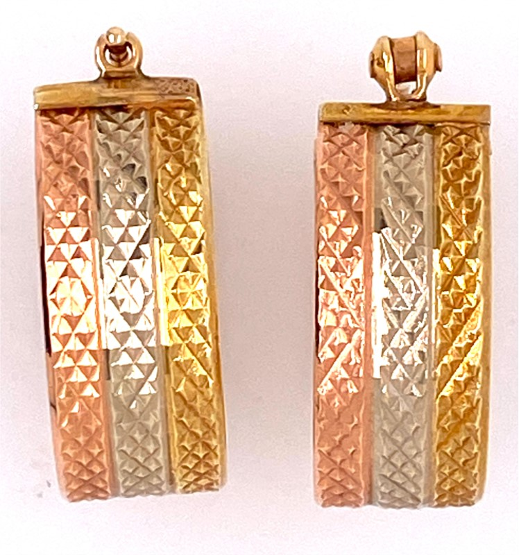 Earrings - 14K Tri-Color Gold 8mm Wide Patterned Hoop Earrings