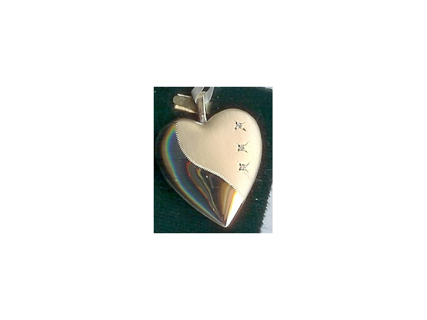 Charms - 14K Two Tone Gold Reversible 3 Diamond Heart Locket   On  A 14K Yellow Gold 16