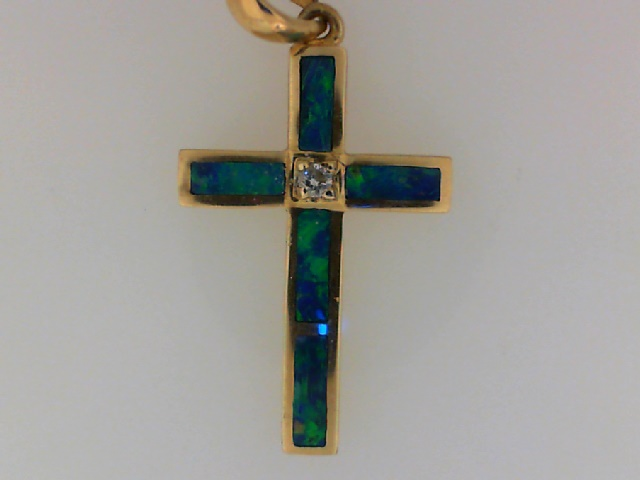 Charms - 14 Yellow Gold Opal Inlay Cross Pendant No Chain
