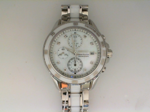 Watch - Seiko Ladies Stainless Steel And Ceramic Sportura Chronograph Mop Dial Watch