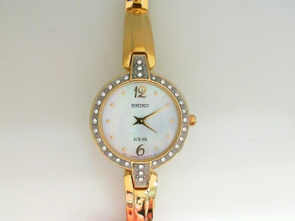 Watch - Ladies Seiko  All Metal Bangle-Look, White Mother-O-Pearl Dial, Solar, Stone Set Bezel