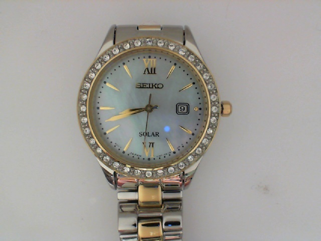 Watch - Seiko Ladies Solar Watch Yellow and White with Mother of Pearl Dial and Swarovski® Crystals