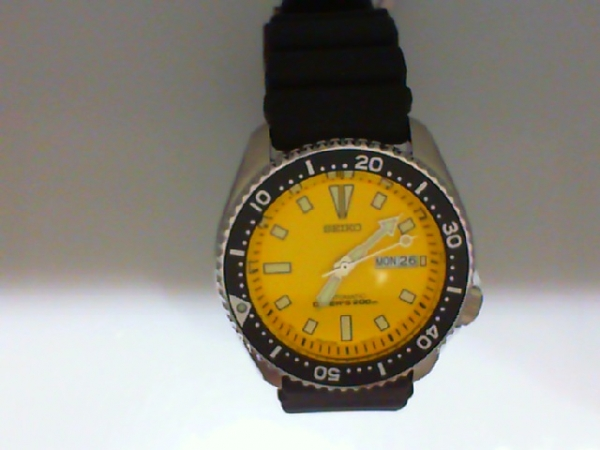 Watch - Seiko Gents Automatic Yellow Dial Divers Black Synthetic Strap Day/Date Watch