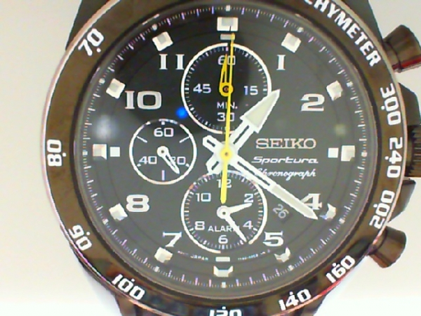 Watch - Seiko Gents Sportura Alarm Chronograph Black Dial, Black Strap With Yellow Hands & Stitching Watch