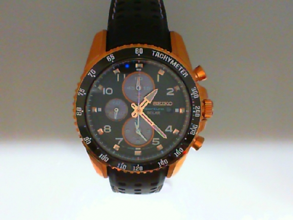 Watch - Seiko Gents Sportura Solar Alarm Chronograph Stainless Steel Rose Gold Finish Black Bezel Watch