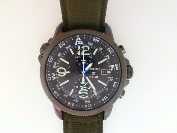 Watch - G BLACK SEIKO SOLAR ALARM CHRONOGRAPH , GREEN STRAP