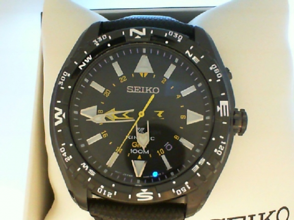 Watch - G Seiko Prospex Kinetic GTM Watch, Black Strap And Dial, Reverse Crystal, Black Ion Finish