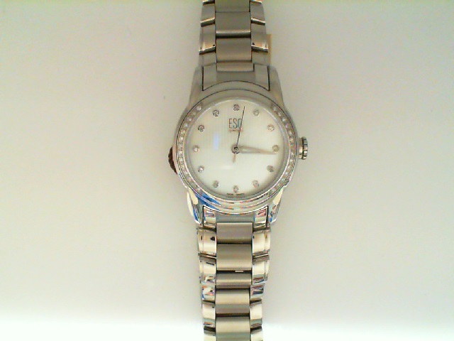 Watch - ESQ Ladies Quest Stainless Steel Striped Silver Tone Dial Diamond Bezel & Diamond Dial Markers Watch