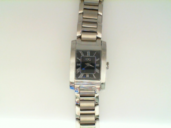 Watch - ESQ Ladies Venture Stainless Steel Rectangle Black Dial Roman #'s Watch