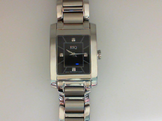 Watch - ESQ Ladies Venture Stainless Steel Rectangle Black Dial Dash & Diamond Melee Markers Watch