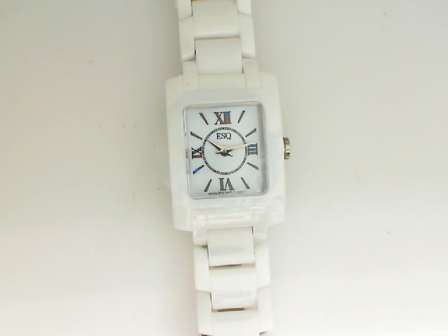 Watch - ESQ Venture Ladies White Ceramic With Rectangle Roman #'s & Dash Dial Watch