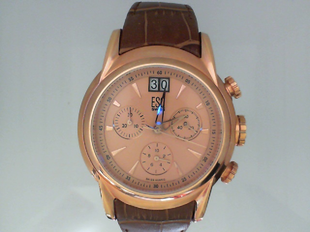 Watch - Mans Quest Rose Finish Chrono Esq Watch Brown Strap