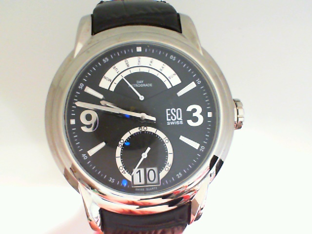 Watch - Satinless Retrograde Quest ESQ Watch Day/Date, Black Dial, Black Strap