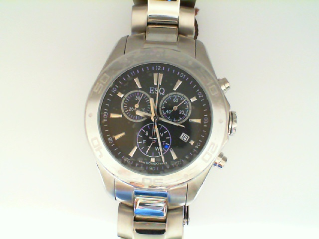 Watch - Esq Gents Aston Stainless Steel Round Black Chronograph Dial Watch
