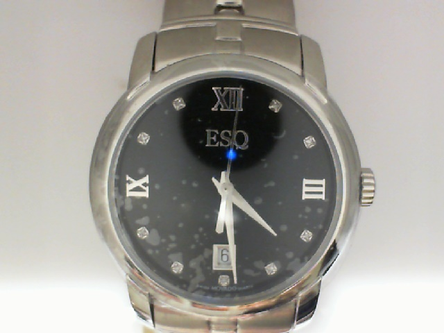 Watch - ESQ Gents Muse Stainless Steel Round Black Dial Diamond Dial Markers Date Watch