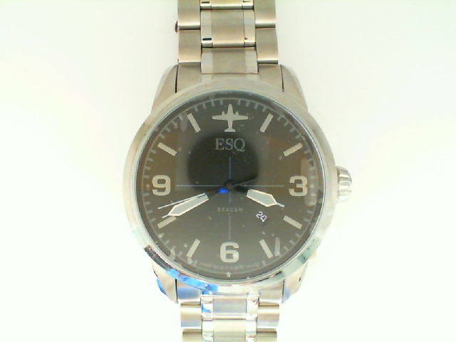 Watch - ESQ Gents Beacon Stainless Steel Round Black Dial Date Watch