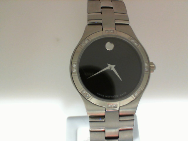 Watch - STAINLESS LADIES JURO BLK MUSEUM DIAL MOVADO WATCH DIA BEZEL