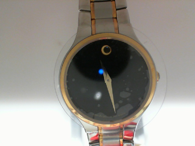 Watch - Movado Ladies Serio Two-Tone Stainless Steel Round Black Movado Museum Dial Watch