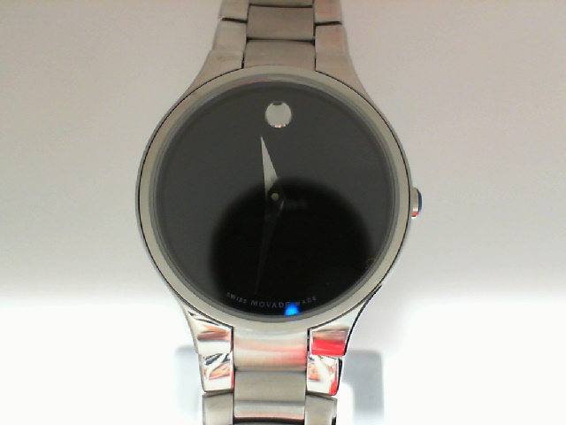 Watch - Movado Serio Ladies Stainless Steel Round Black Museum Dial Watch