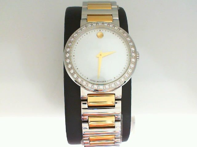 Watch - Movado Concerto Ladies Two Tone Stainless Steel Round Mop Dial With Diamond Melee Bezel Watch