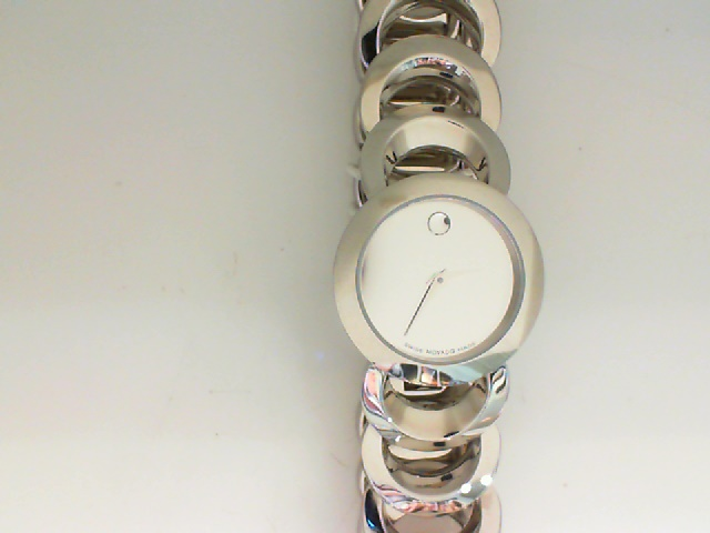 Watch - Ladies Stainless Steel Rondiro Movado Museum Dial Watch With Circle Link Band