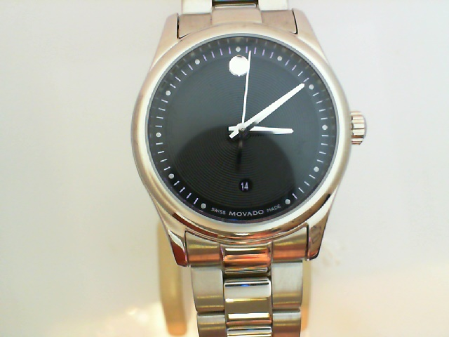 Watch - Movado Lady's Serio Stainless Steel Round Black Museum Dial Watch