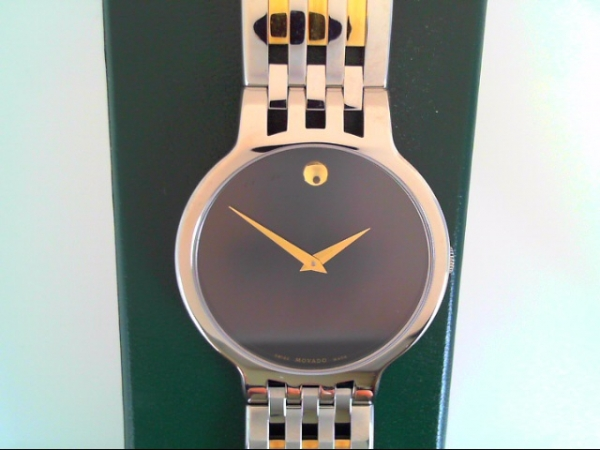 Watch - Movado Gents Esper Two-Tone Stainless Steel Open Bar Link Design Round Black Museum Dial Watch