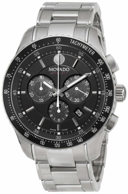 Watch - Movado Gents SE800 Series Stainless Steel Round Black Chronograph Dial Watch