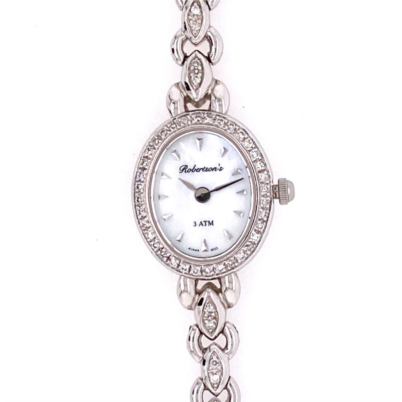 Watch - 14K White Gold Robertson's Watch with Oval MOP Dial & .30cttw DIamond Bezel, Sapphire Crystal