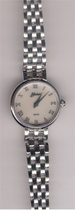 Watch - 14K WHITE LADY DRESS ROBERTSON WATCH + BAND, RND  MO-PEARL DIAL, SAPPHIRE XTAL, WATER RESISTANT