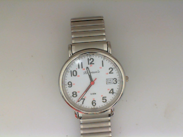 Watch - Robertson's Gents Round White Railroad Dial Watch With Expansion Band