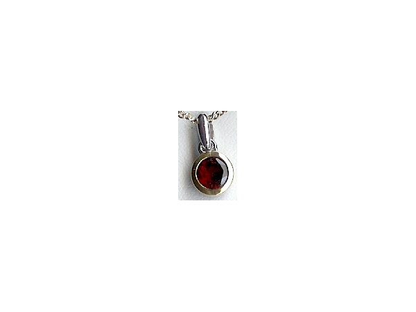 Pendant - Sterling Silver & 14Kt Round Garnet Pendant On An 18