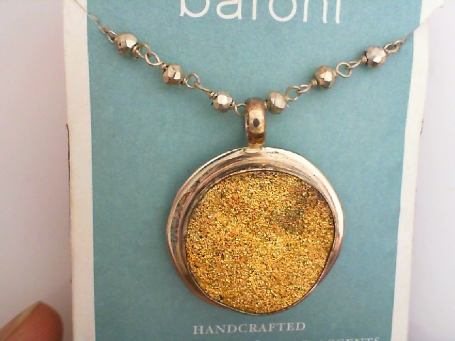 Pendant - Baroni Sterling Silver Large Round Gold Druzi Agate Pendant On A 16