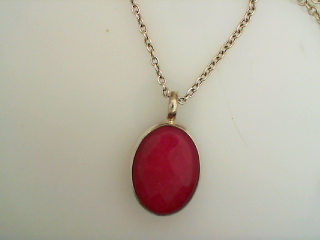 Pendant - Baroni Sterling Silver Large Oval Faceted Ruby Jade Pendant On A 22