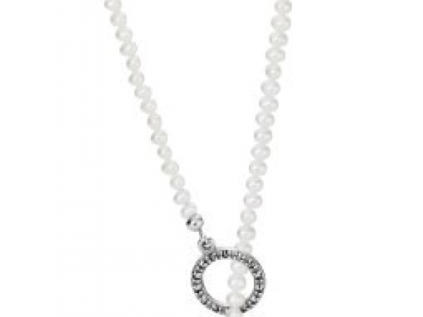 Pandora Necklaces - Necklace Woven Splendor w/14K, White Freshwater Cultured Pearl, Pyrite & 0.004 ct Diamond