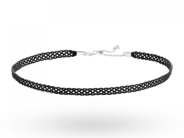 Pandora Necklaces - Woven Fabric Choker, Black