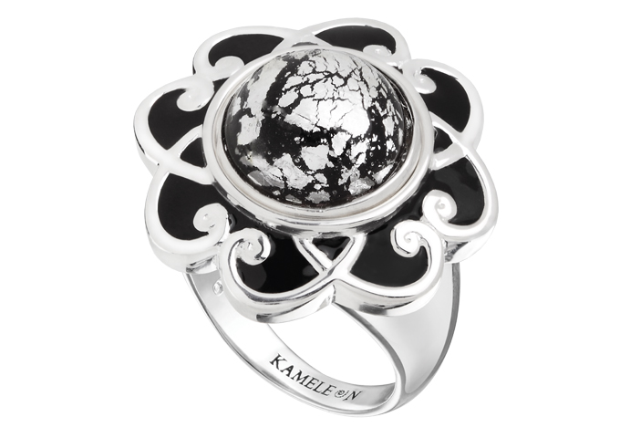 JewelPop - Black Enamel Flower Scroll Ring