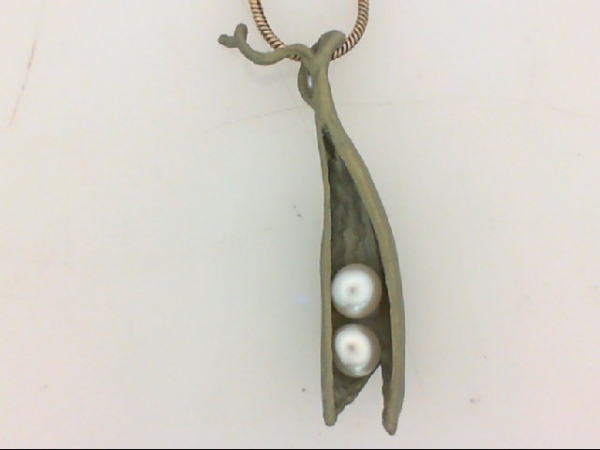 Pendants - Michael Michaud Small Peapod Jewelers Bronze Pendant With 2 Freshwater Pearls On An 18