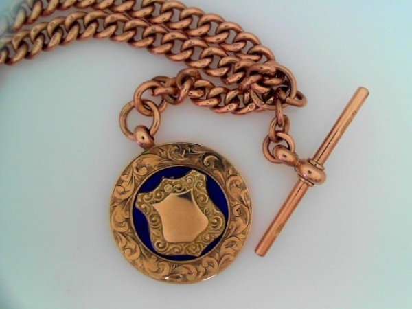 Estate Jewelry - 9K Watch Chain With Blue Enamel Fob with Engravable Shield