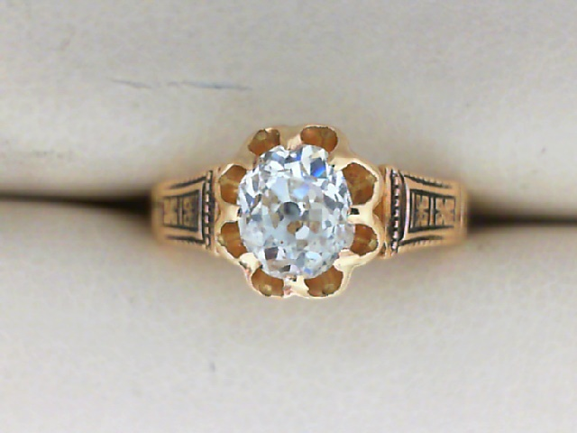 Estate Jewelry - 18K Yellow Gold Antique Solitaire Mine-Cut Diamond Ring  With 0.70 Carat SI1/G Color; Buttercup Crown.