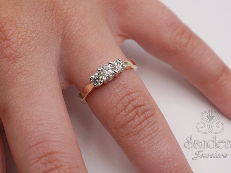 Bridal Jewelry - Three Stone Diamond Ring - image #2