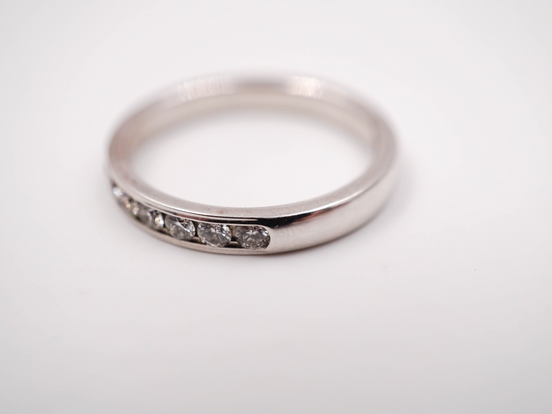 Bridal Jewelry - Channel Set Diamond Wedding Band - image #2