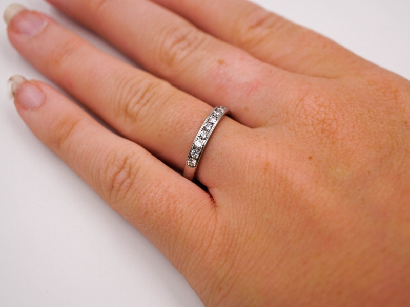 Bridal Jewelry - Channel Set Diamond Wedding Band - image #3