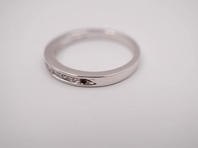 Bridal Jewelry - Princess Cut Channel Set Diamond Wedding Band - image #2