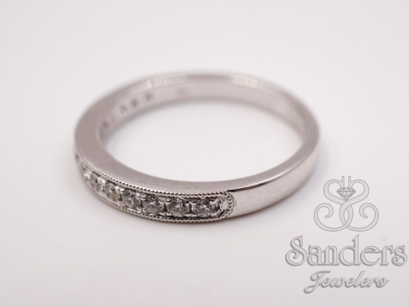 Bridal Jewelry - Bead and Bright Set Diamond Wedding Band - image #2