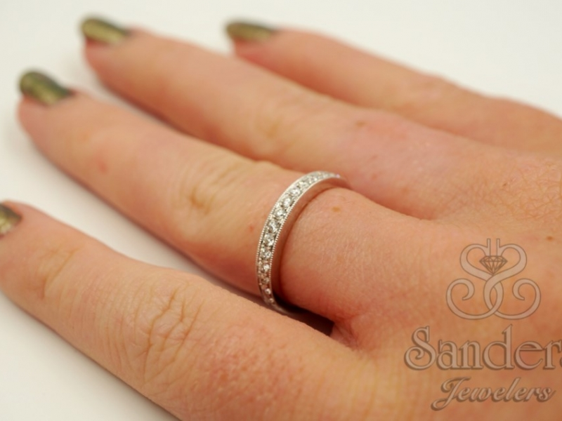 Bridal Jewelry - Bead and Bright Set Diamond Wedding Band - image #4