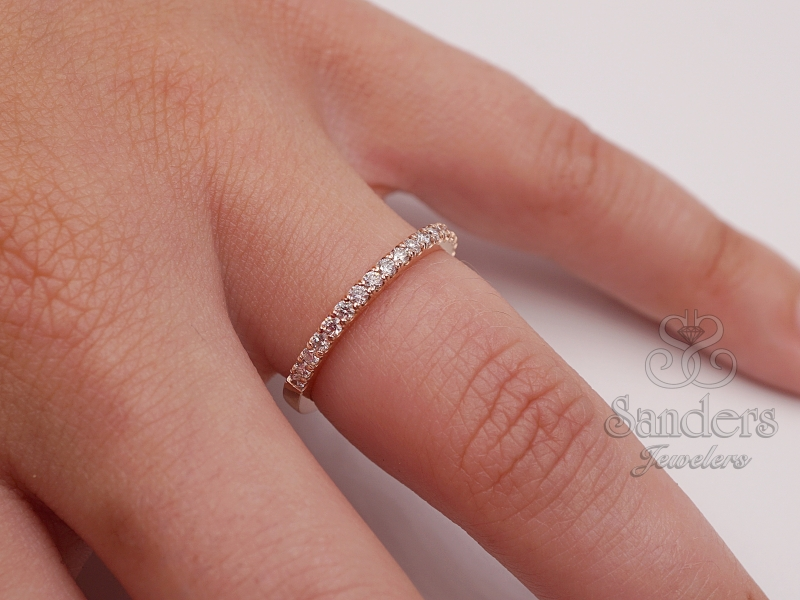 Bridal Jewelry - Rose Gold Diamond Wedding Band - image 2