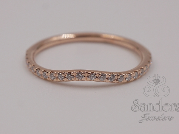 Bridal Jewelry - Rose Gold Diamond Wedding Band