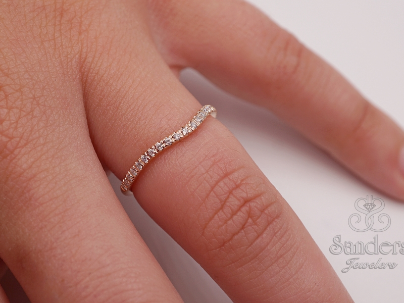 Bridal Jewelry - Rose Gold Diamond Wedding Band - image #2