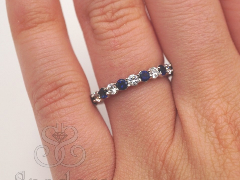 Bridal Jewelry - Sapphire and Diamond Eternity Band - image #4